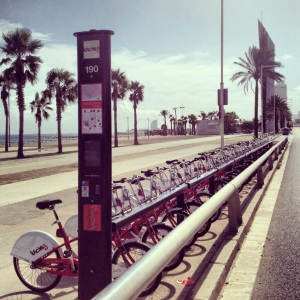 Bicing Station by the beach in Barcelona
