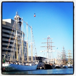 Beautiful classic tall ships visiting Barcelona